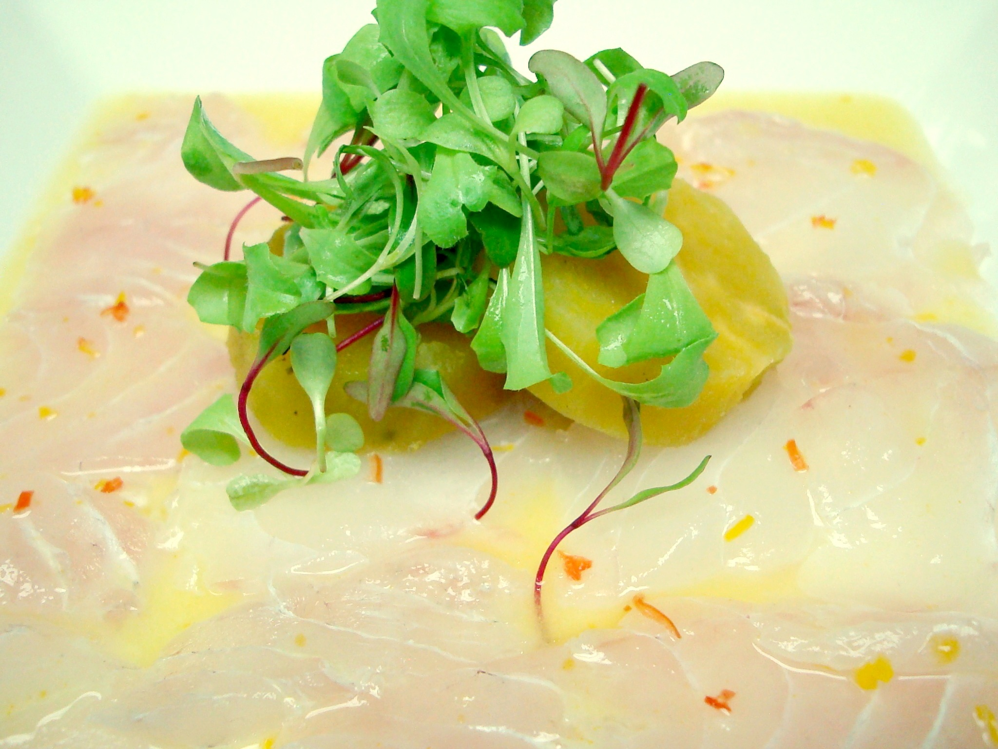 The tiradito, a lighter version of the ceviche, without the intensity of the raw onion.
