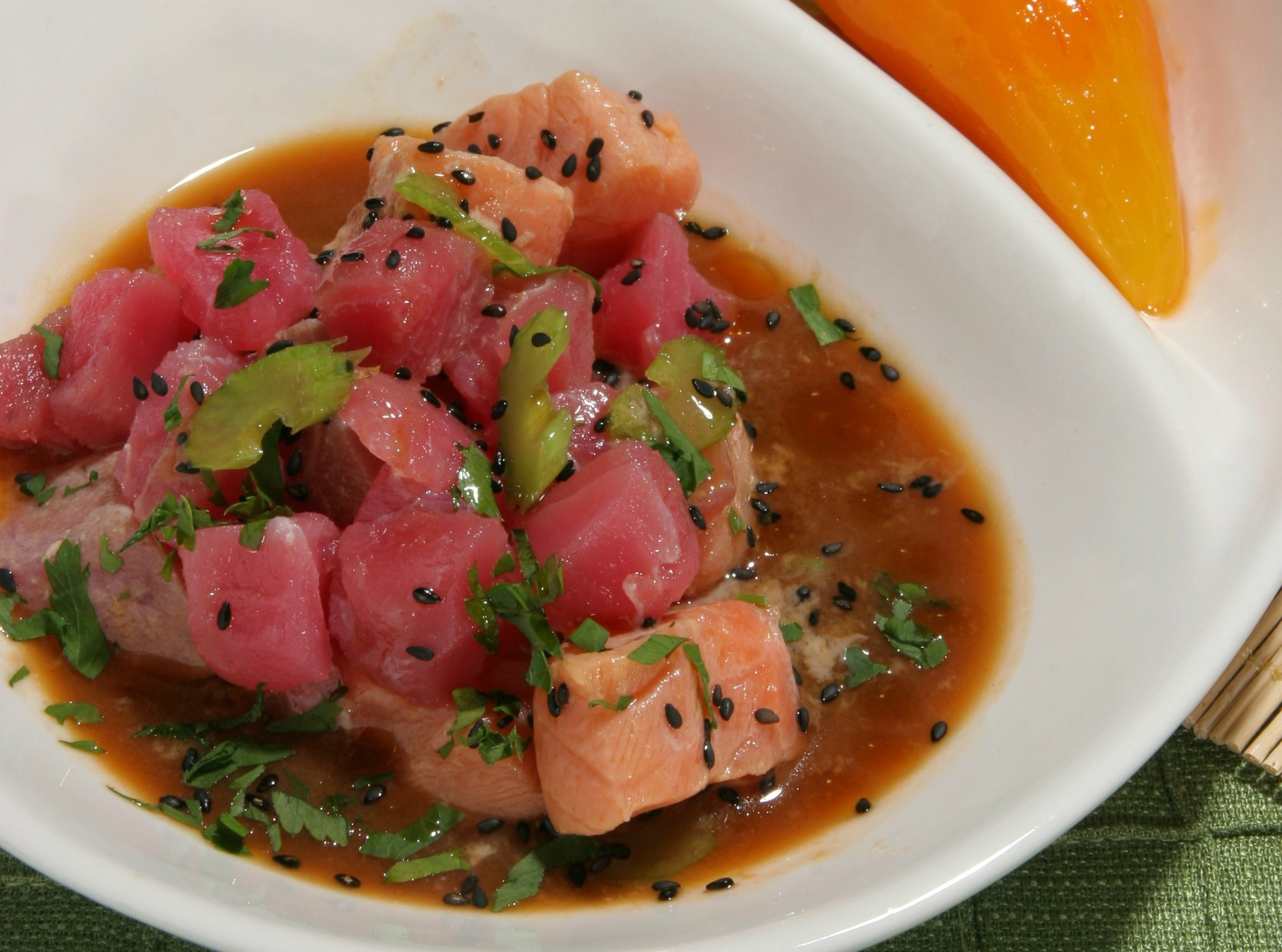 Oriental Ceviche Tuna And Salmon.