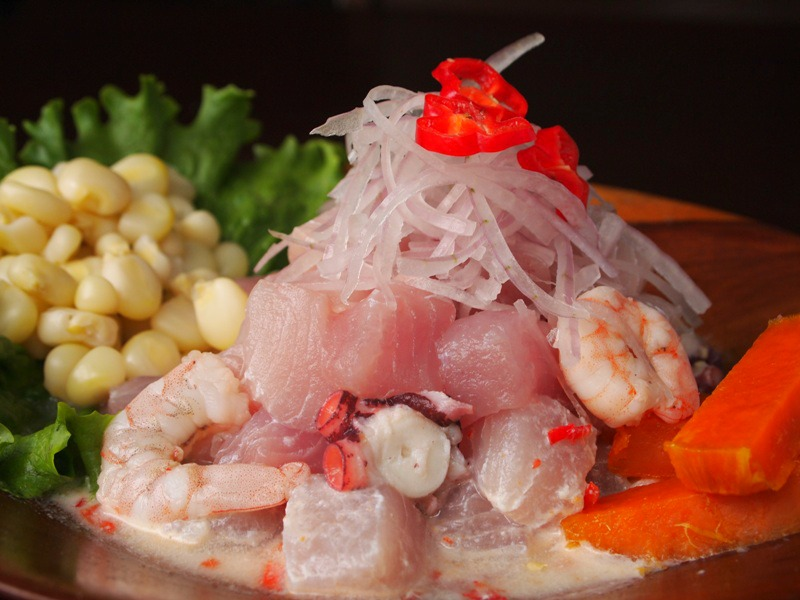 Raw fish marinated in lemon juice.