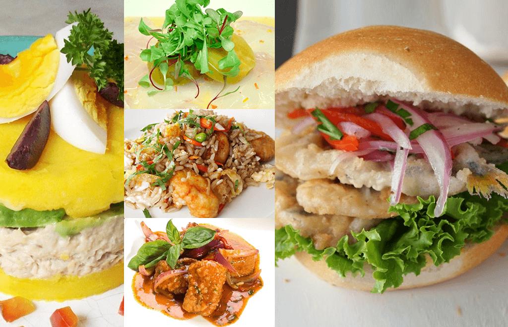 collage causa de atun, pescado a la chorrillana, chaufa de pescado, tiradito de pescado, pan con pejerrey